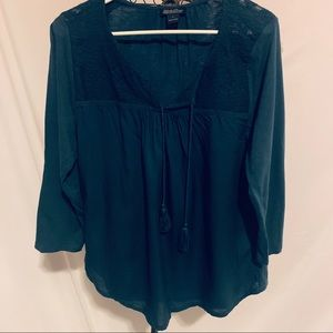 Blue lucky brand blouse with Tassels
